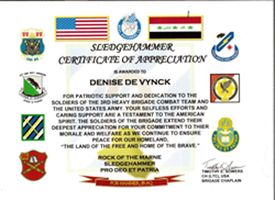 LETTERS TO SOLDIERS – Army Certificate of Appreciation